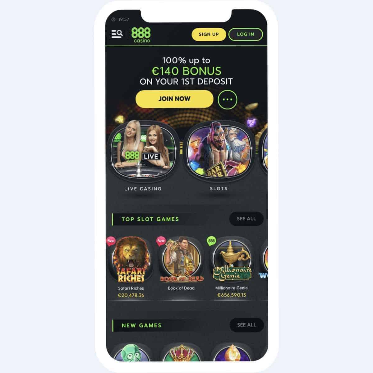 888 casino homepage mobile