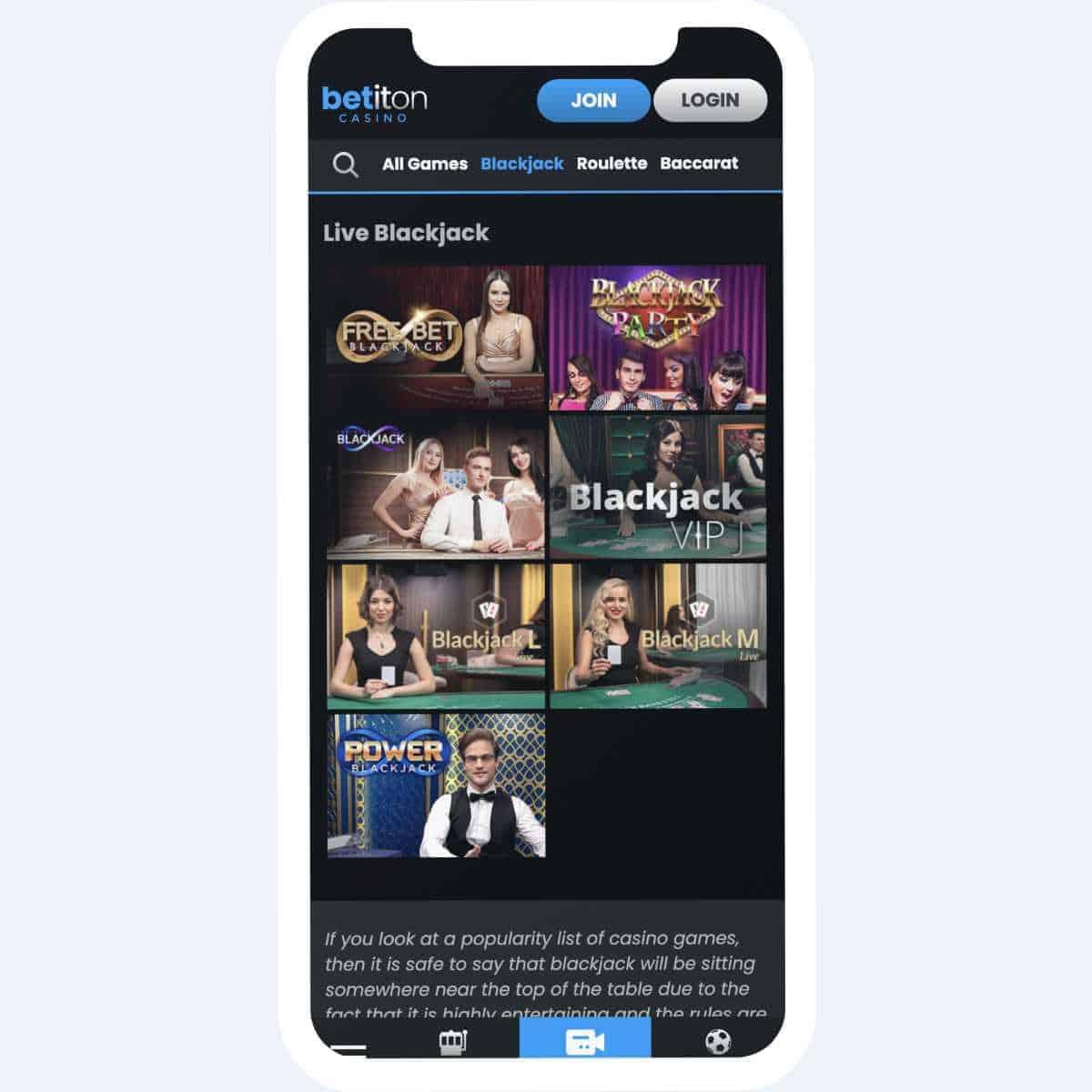 betiton live games mobile