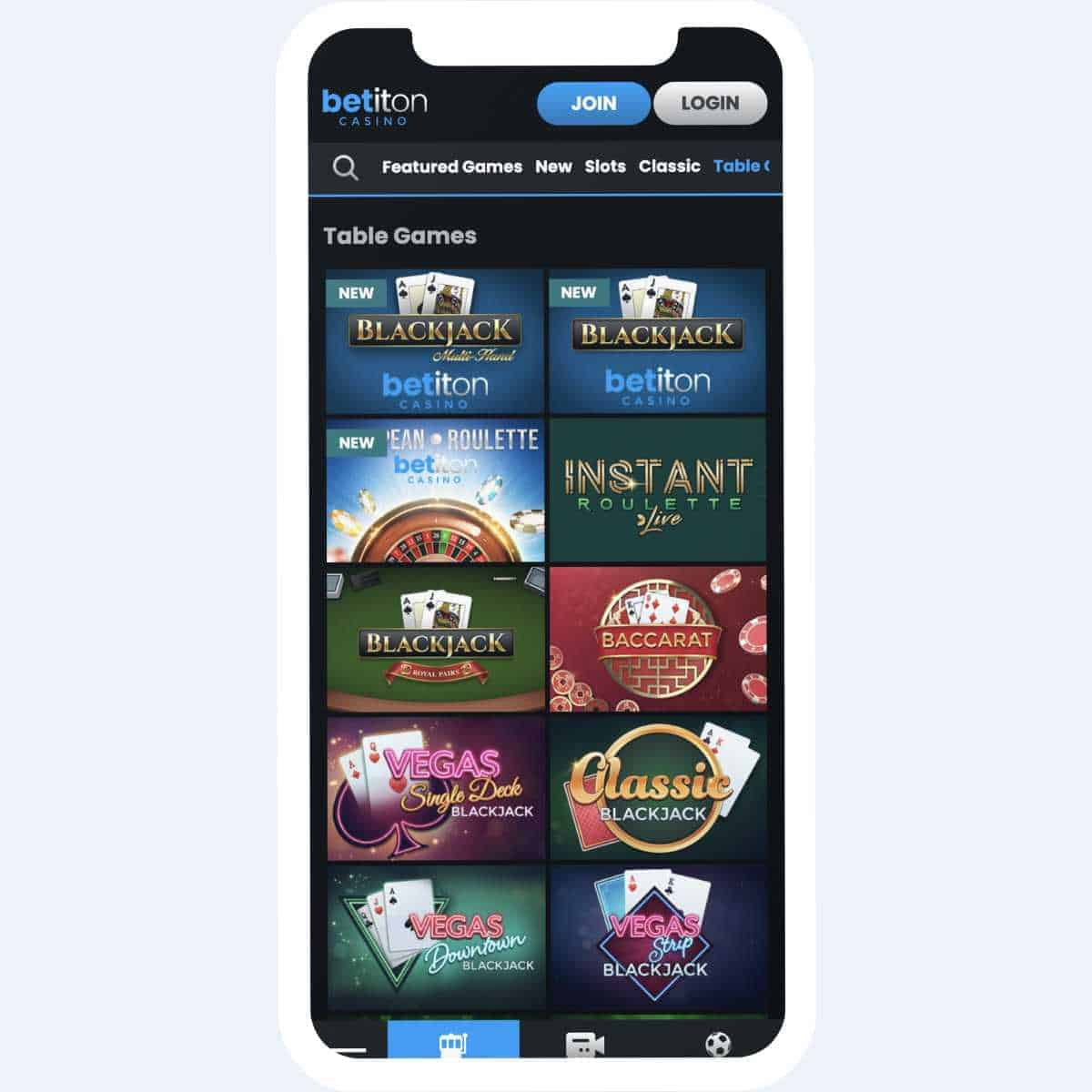 betiton table games mobile