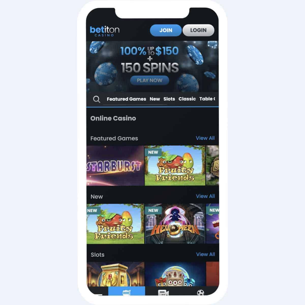 betiton homepage mobile