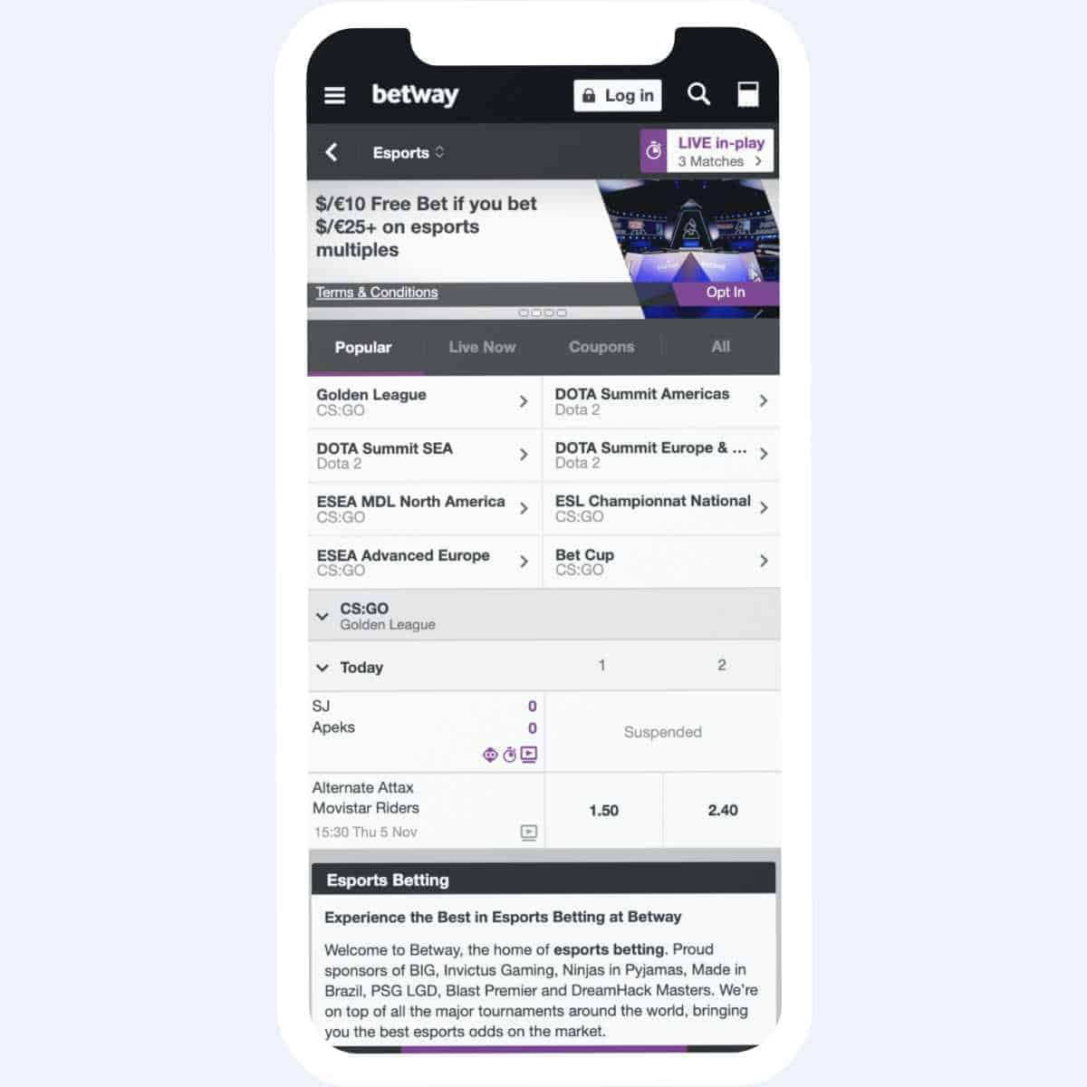betway events mobile