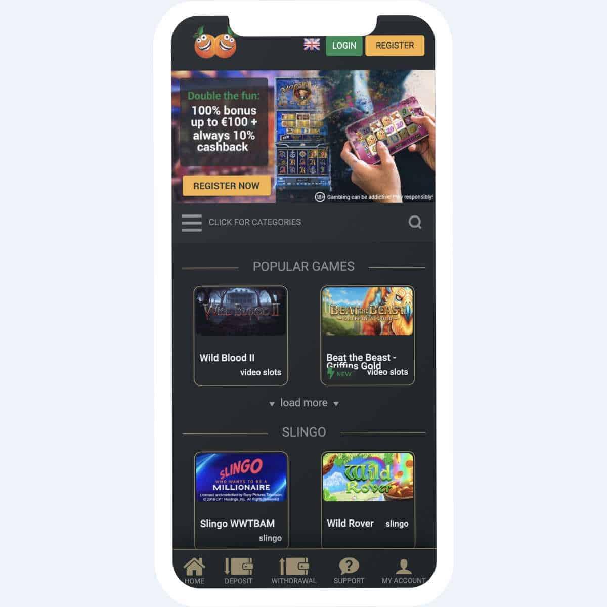 CasinoCasino homepage mobile