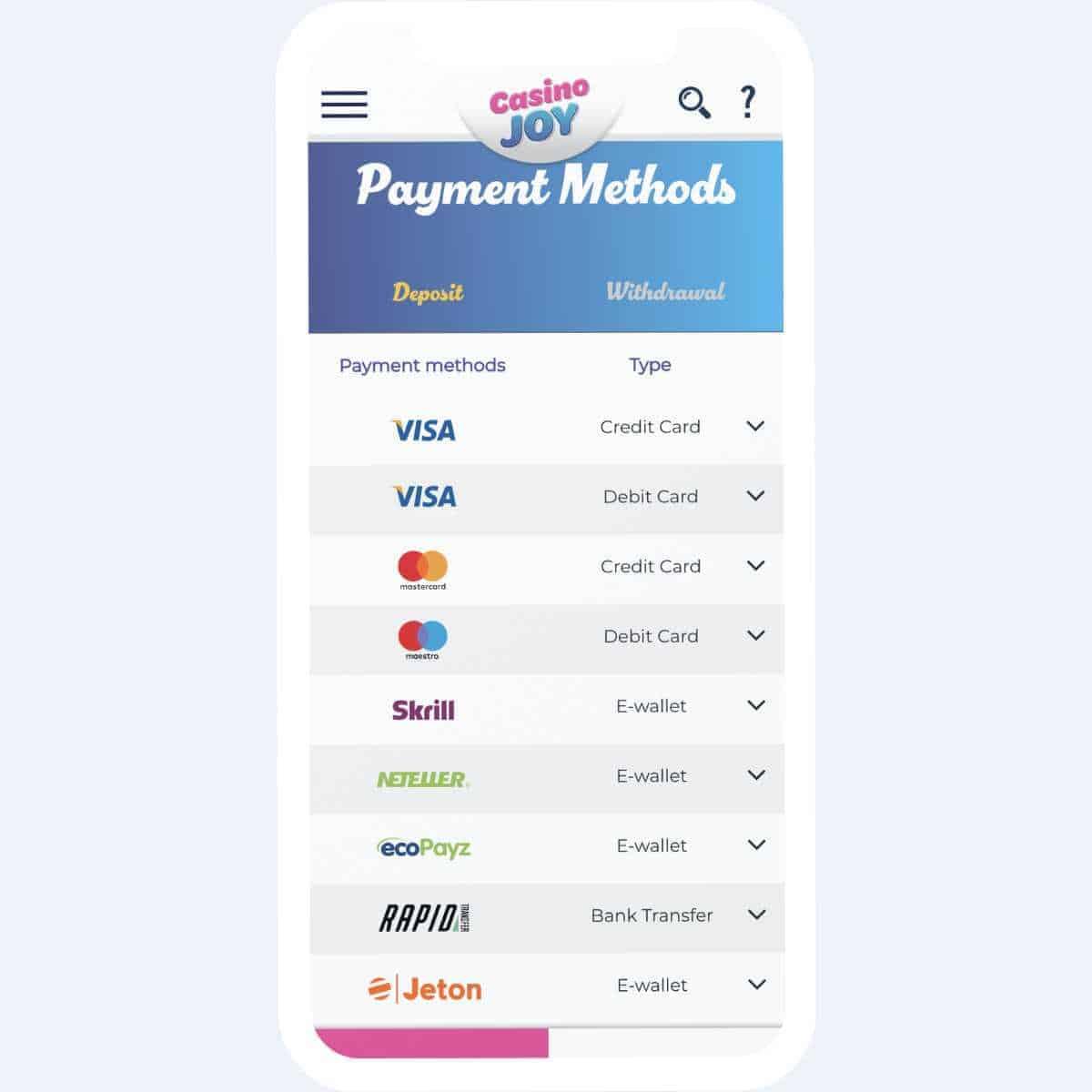 Casino Joy payment methods