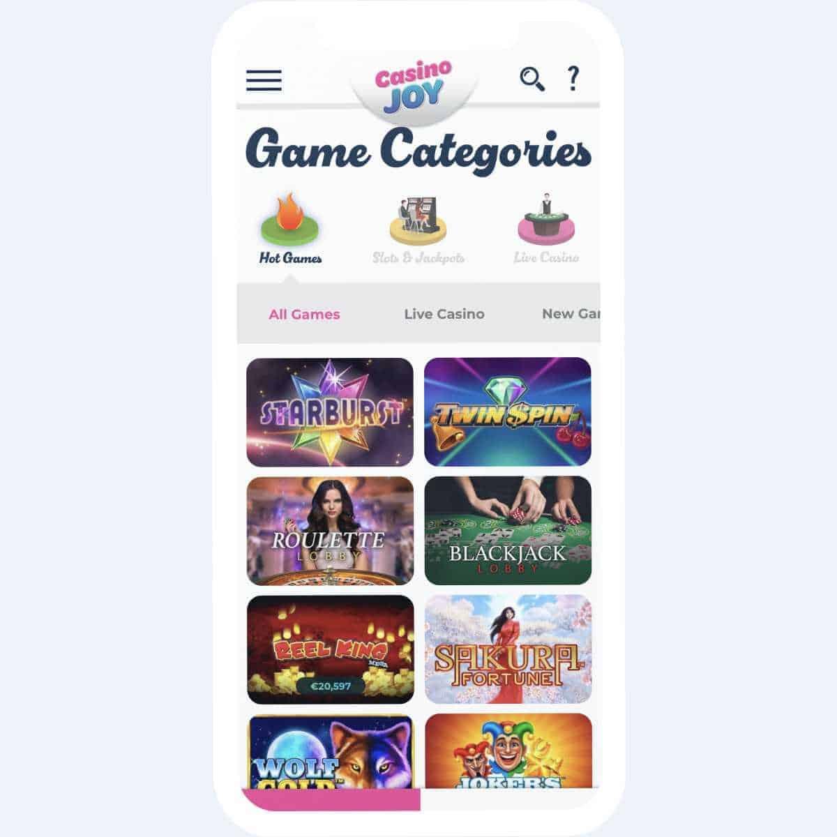 Casino Joy game categories