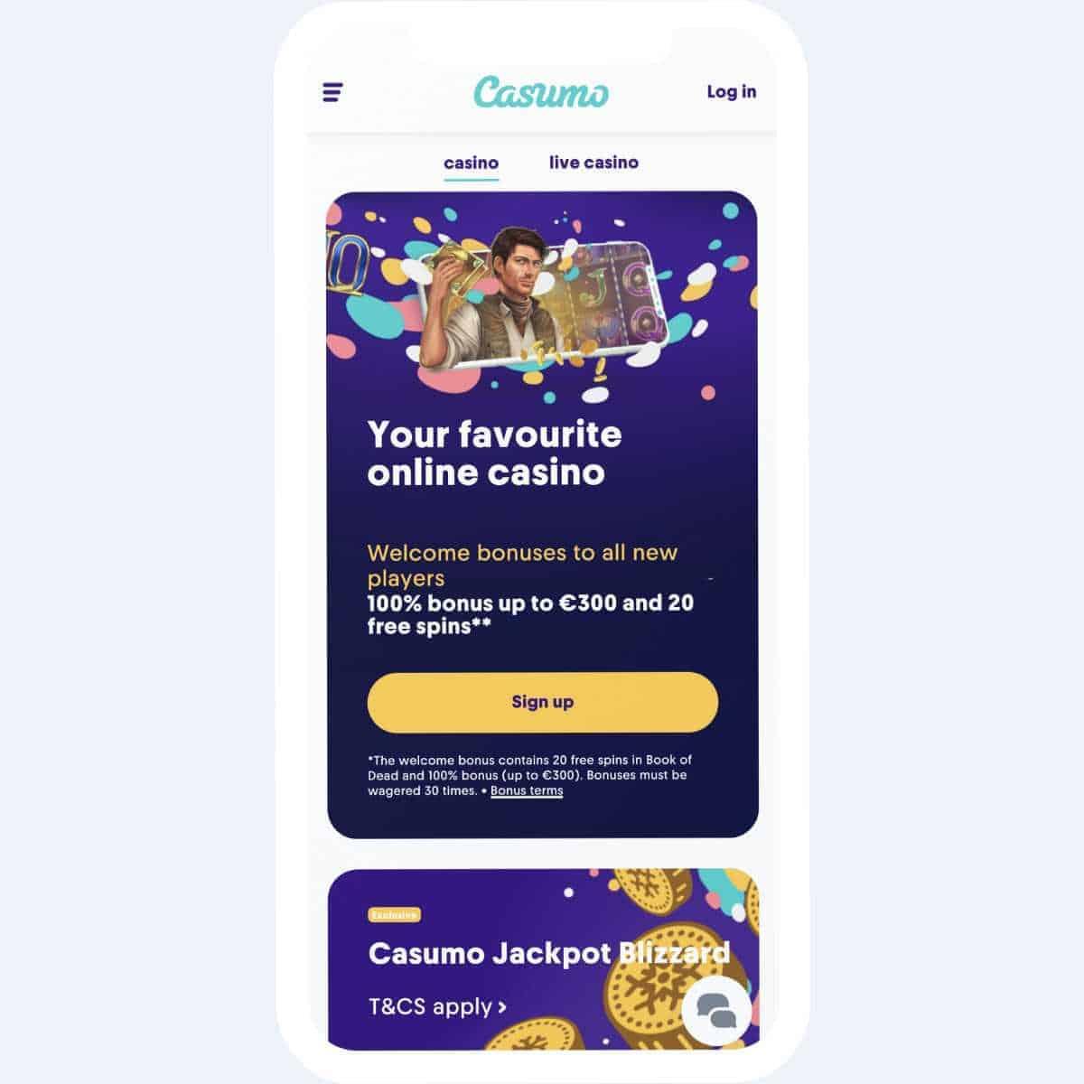 Casumo homepage mobile
