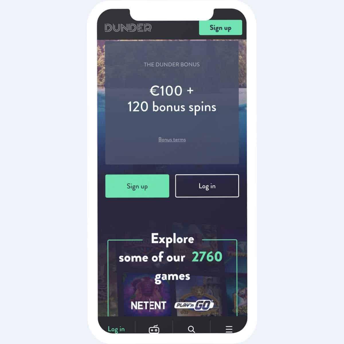 dunder welcome bonus mobile
