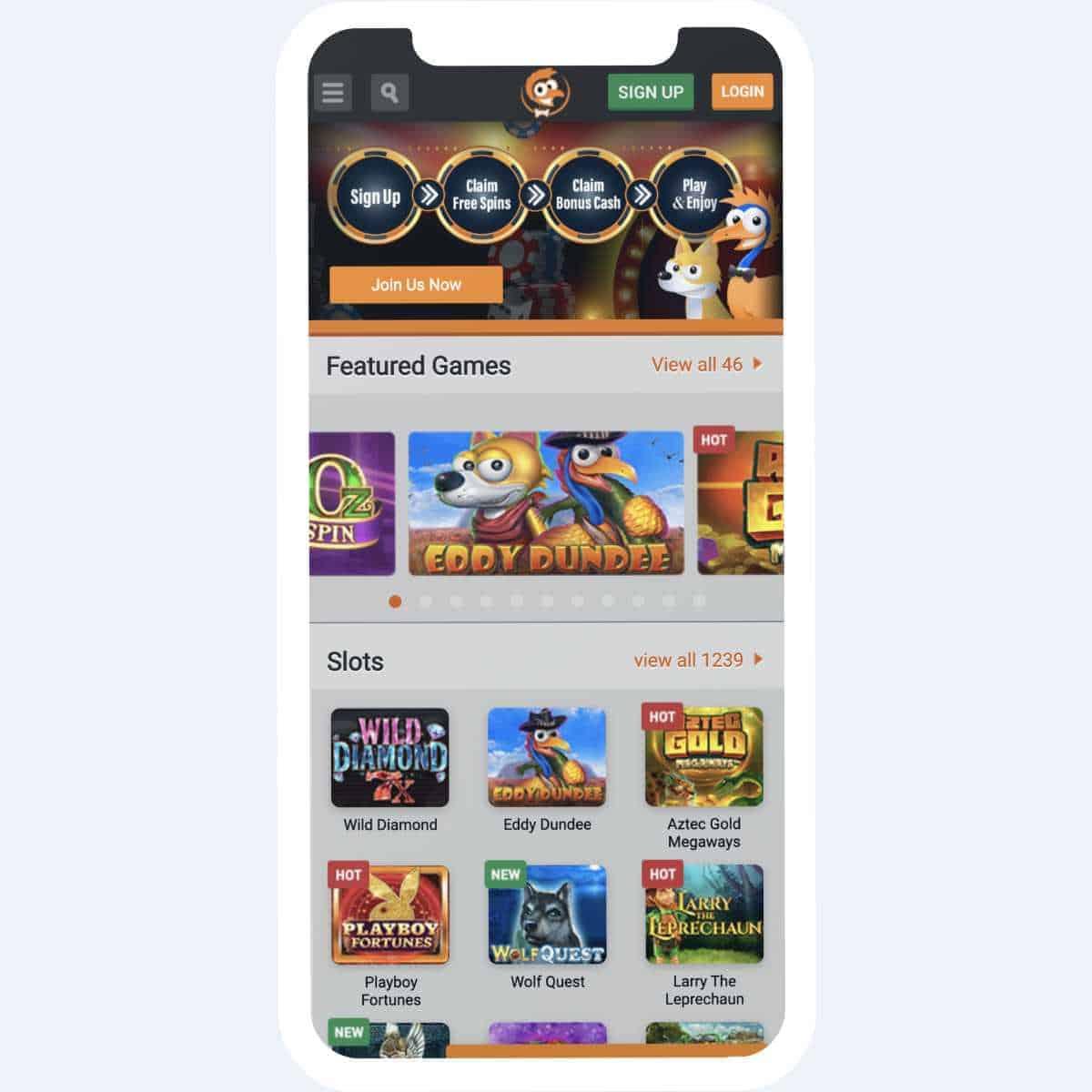 emu casino homepage mobile