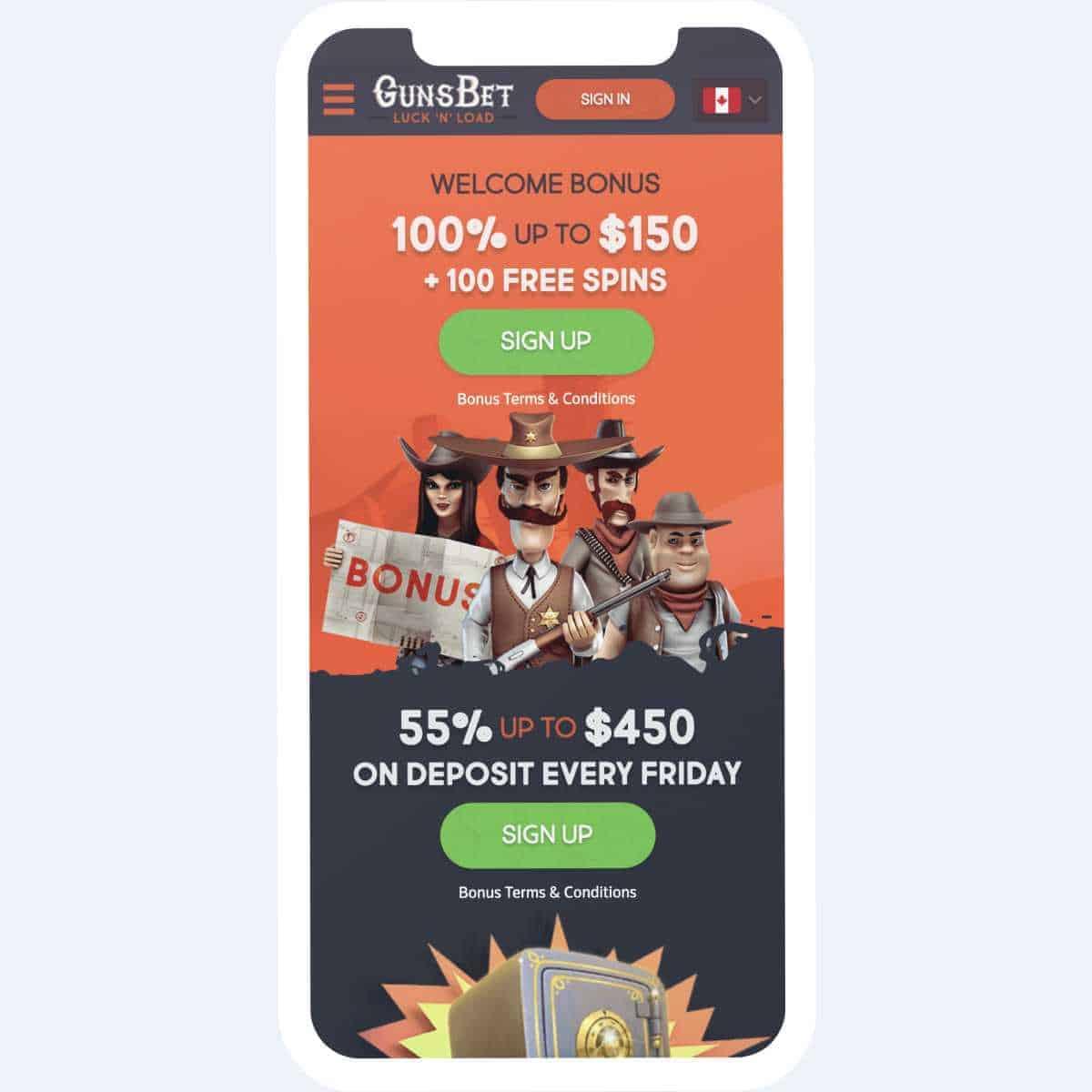 gunsbet bonus page mobile