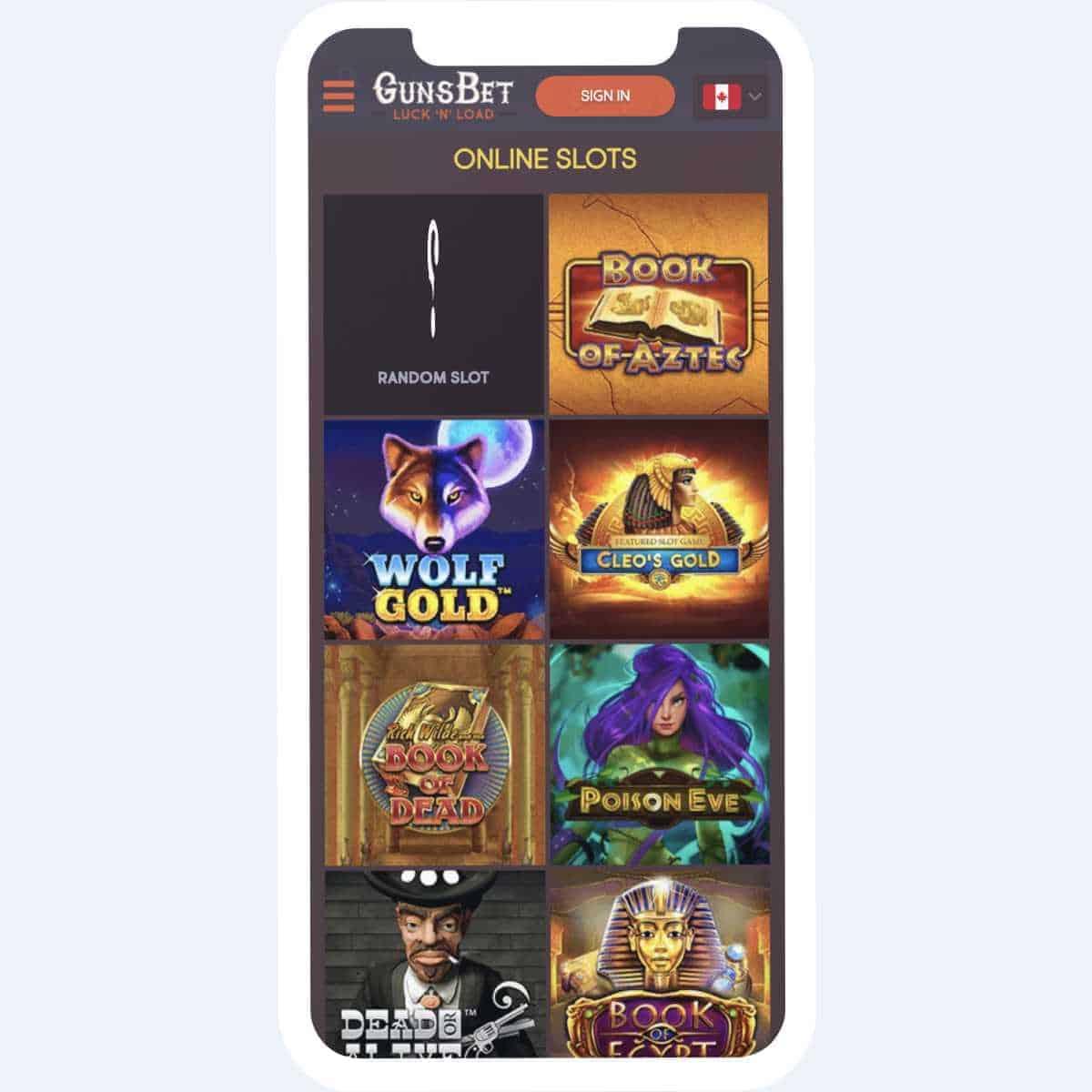 gunsbet online slots mobile