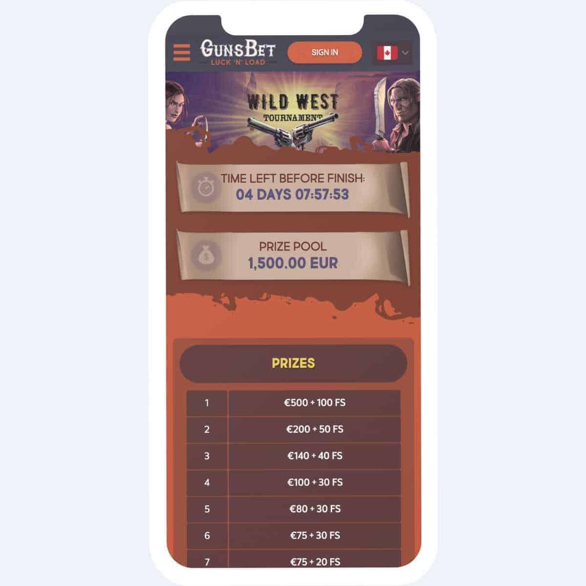 gunsbet casino prizes