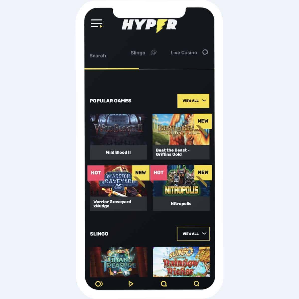hyper casino games mobile