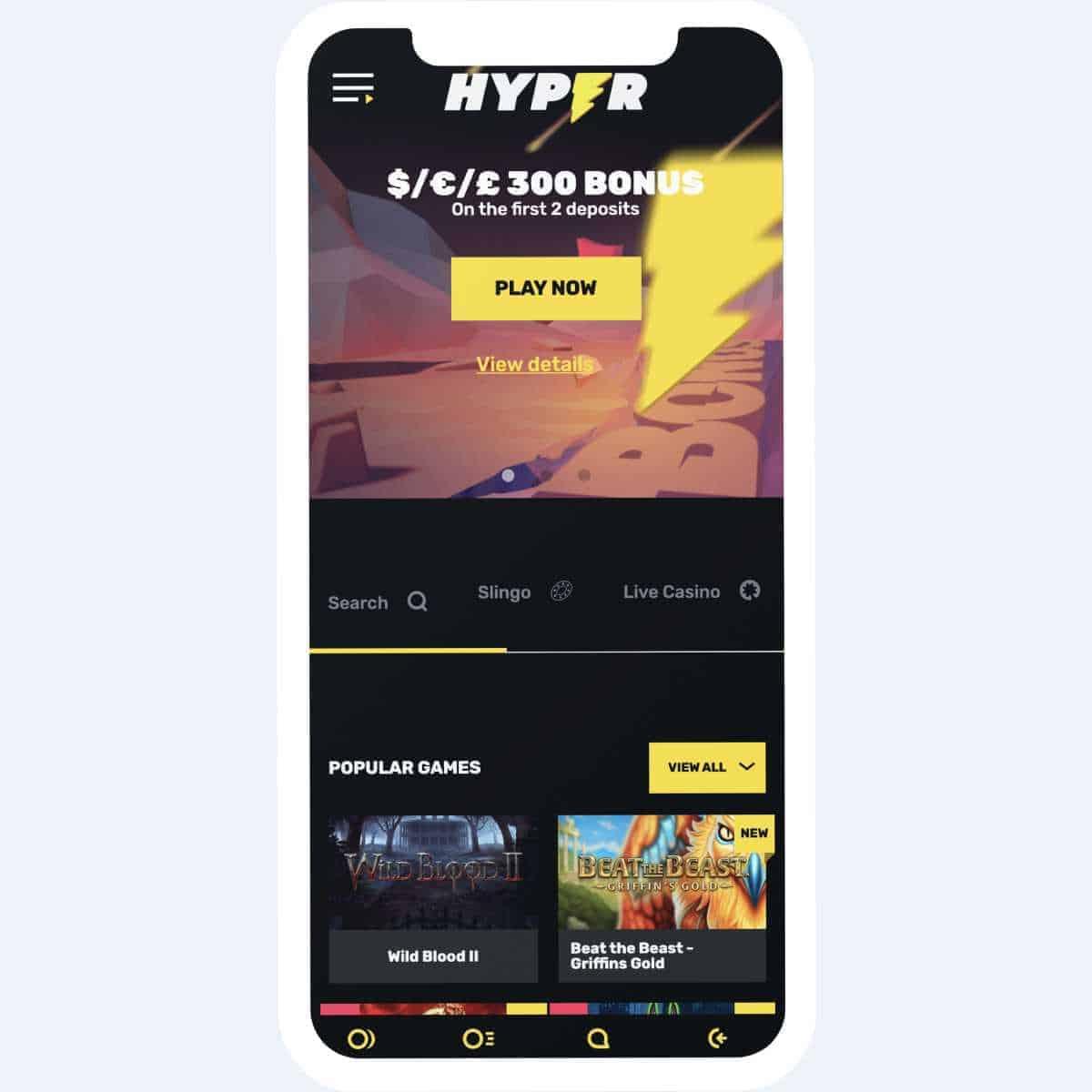 hyper casino homepage mobile