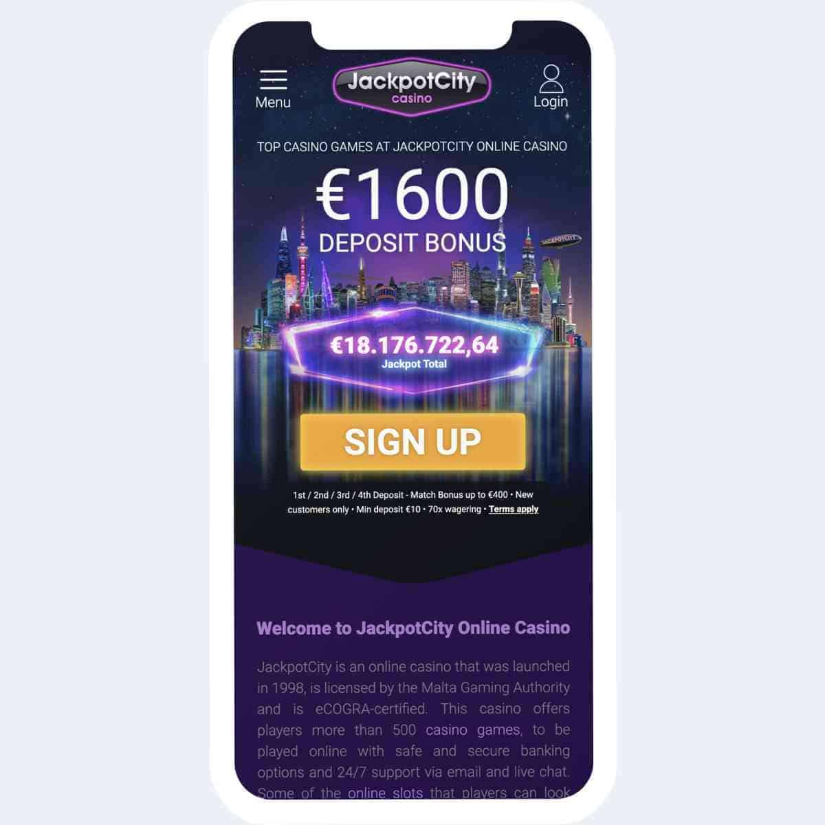 jackpotcity bonus mobile