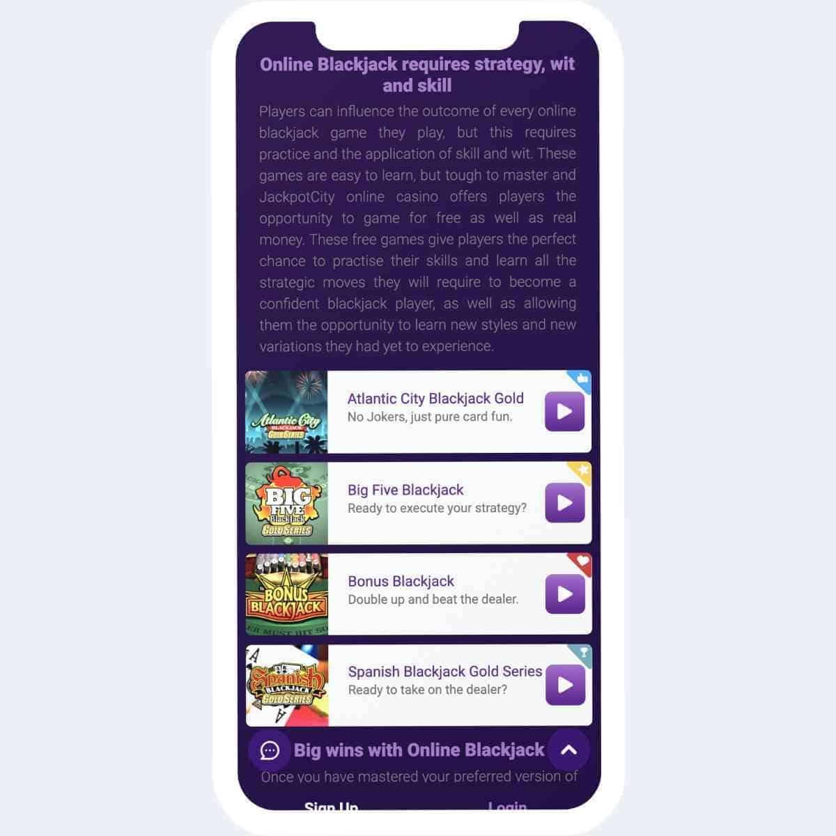 jackpot city live casino mobile