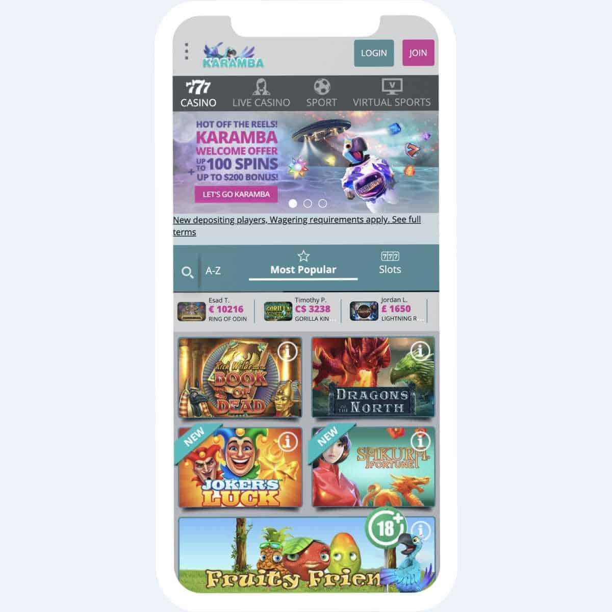 karamba homepage mobile