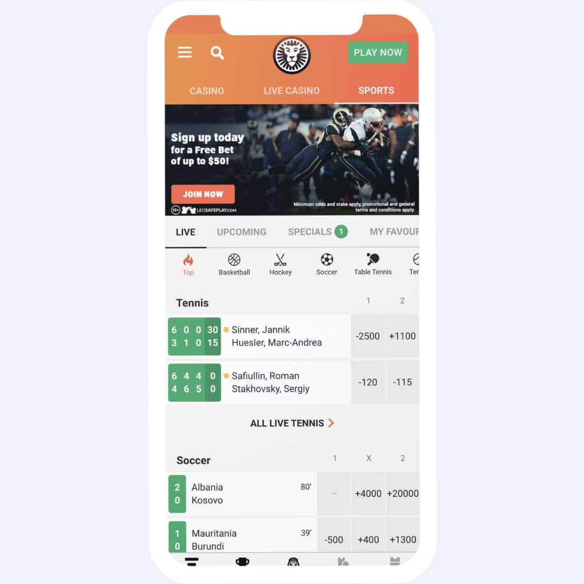 LeoVegas live odds mobile