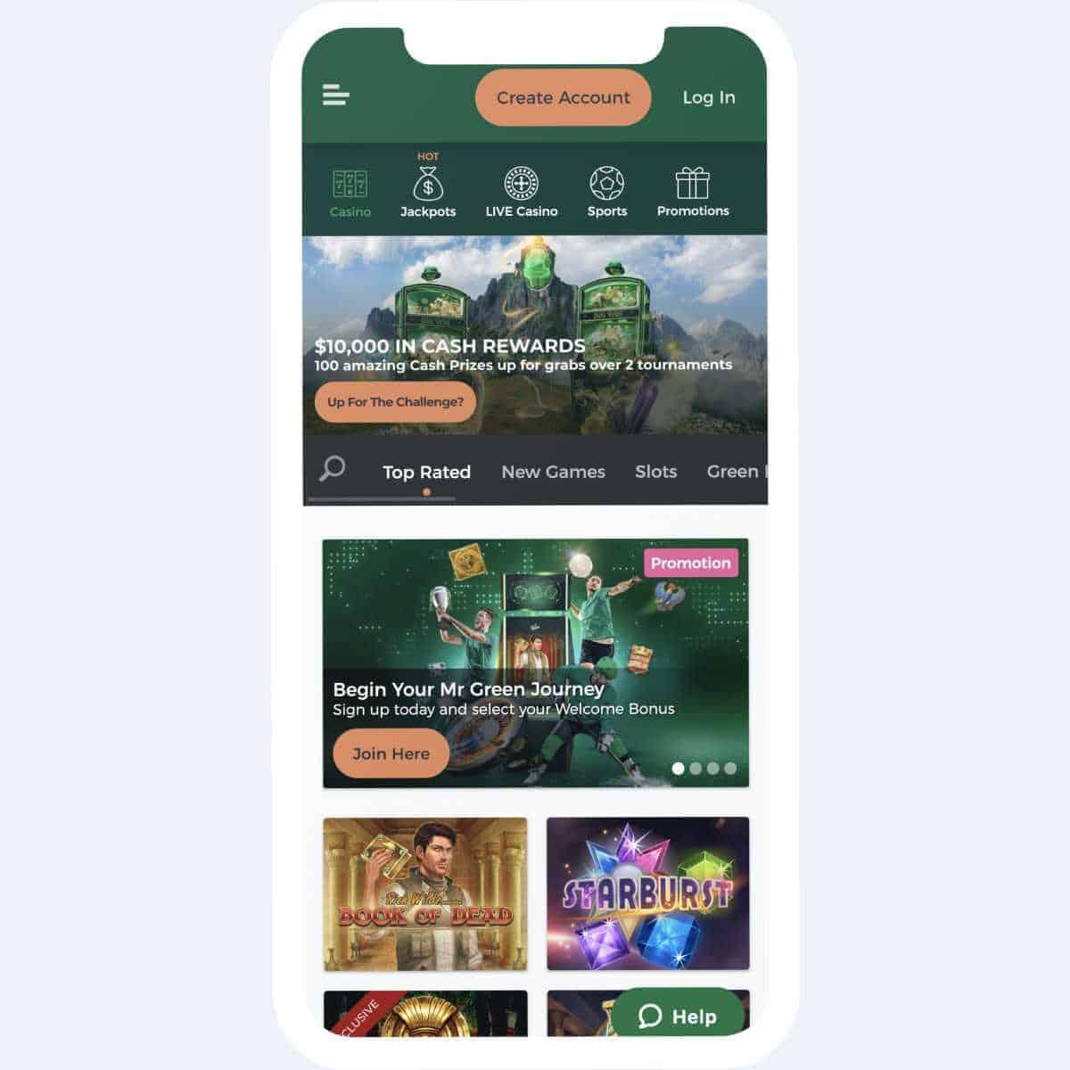 mr green homepage mobile