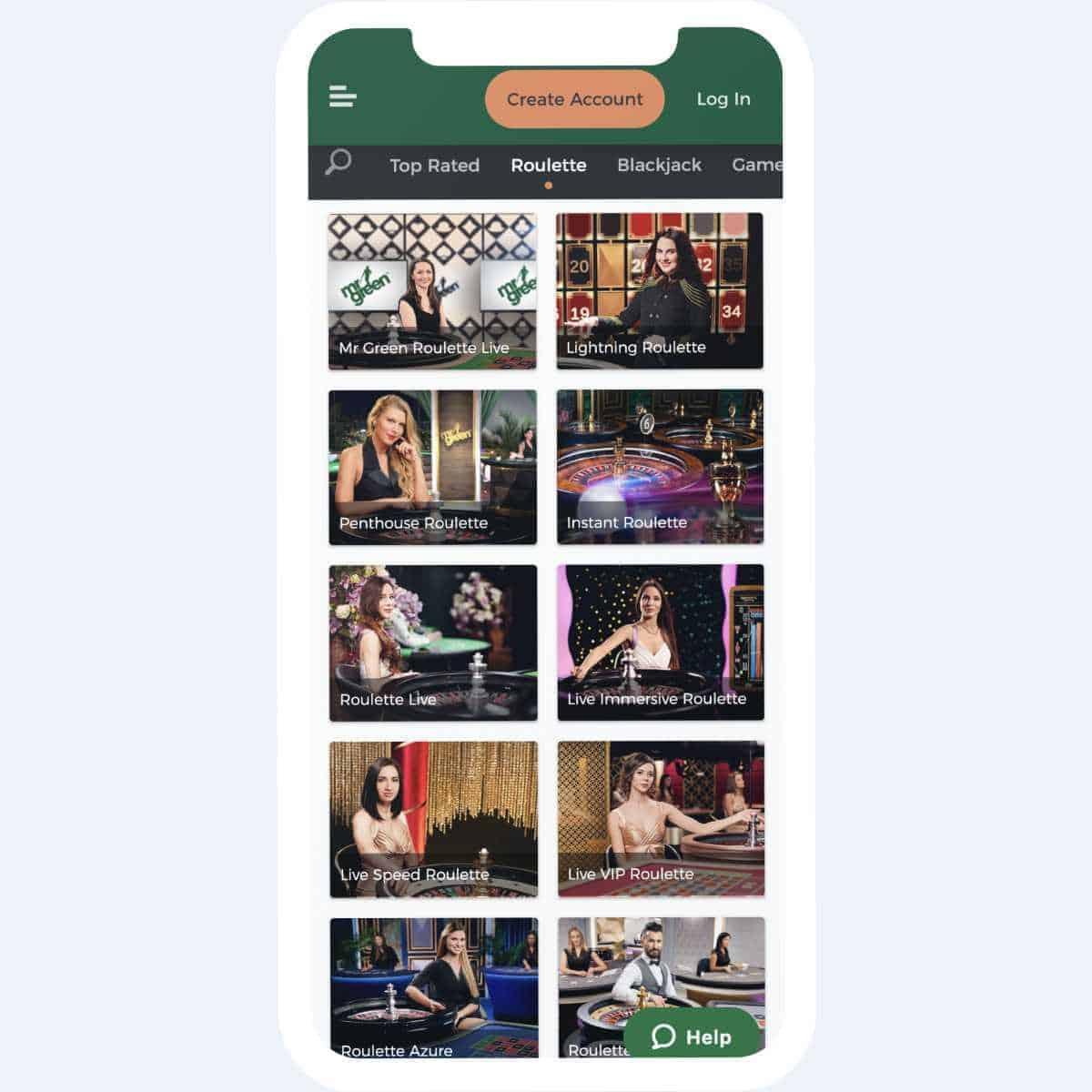 mr green live casino mobile