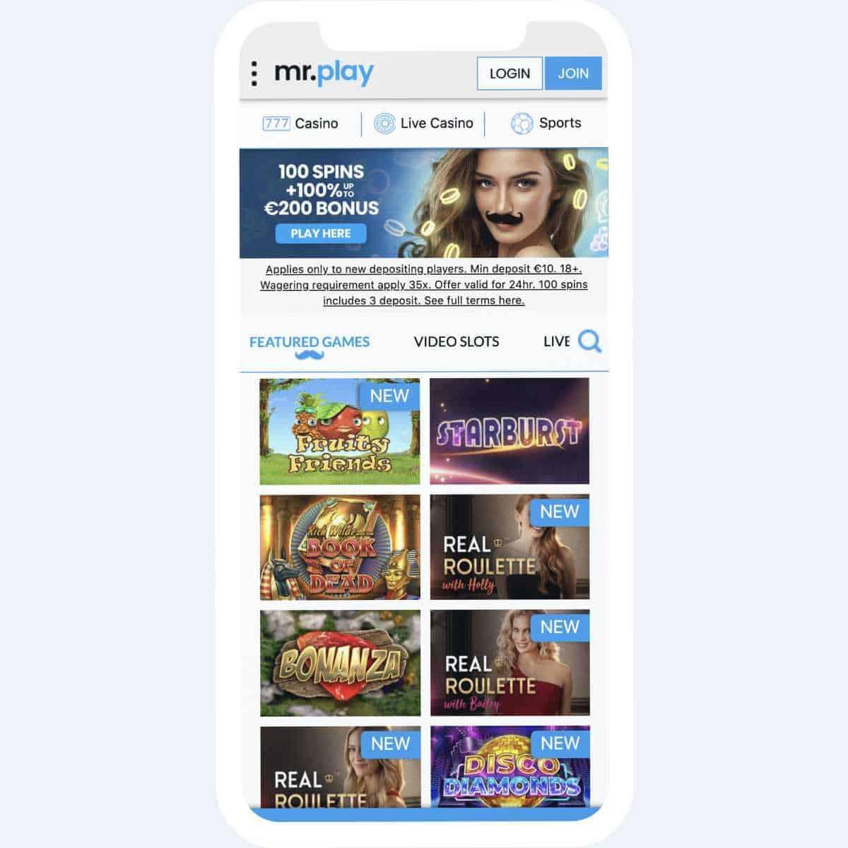 mrplay homepage mobile