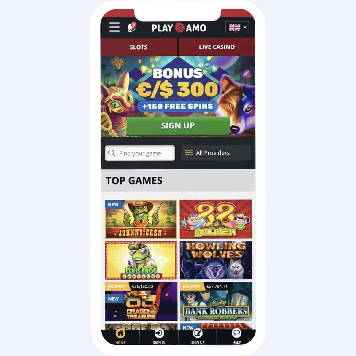 playamo homepage mobile