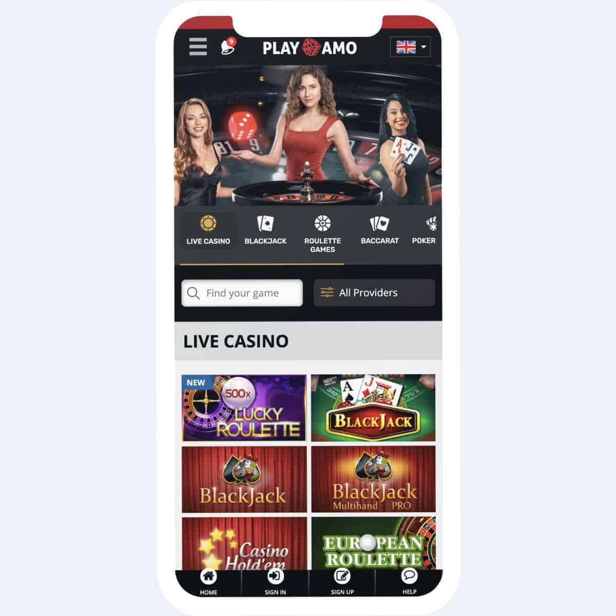 playamo live casino mobile