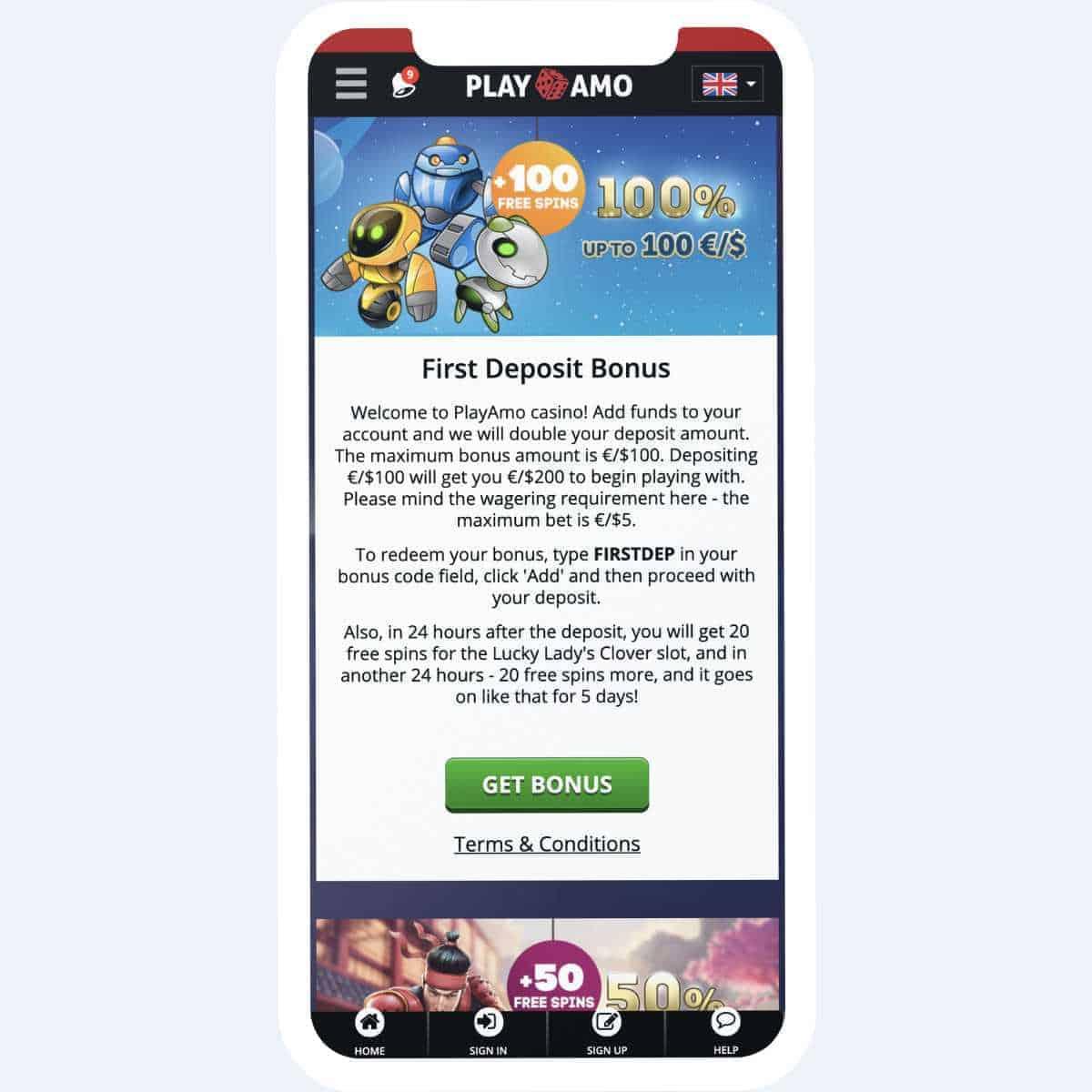 playamo bonus mobile
