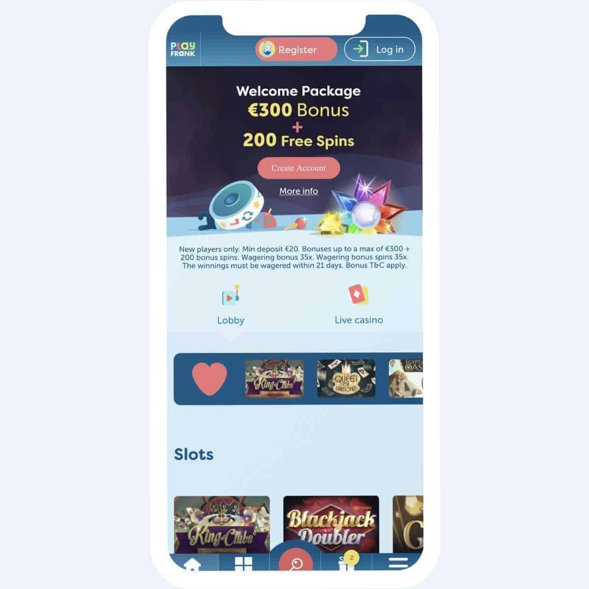 PlayFrank homepage mobile