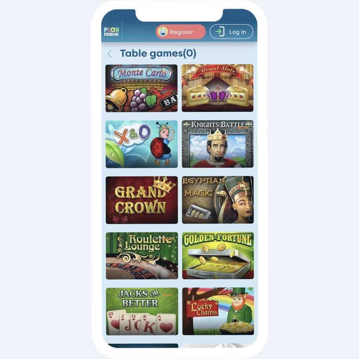 PlayFrank live casino mobile