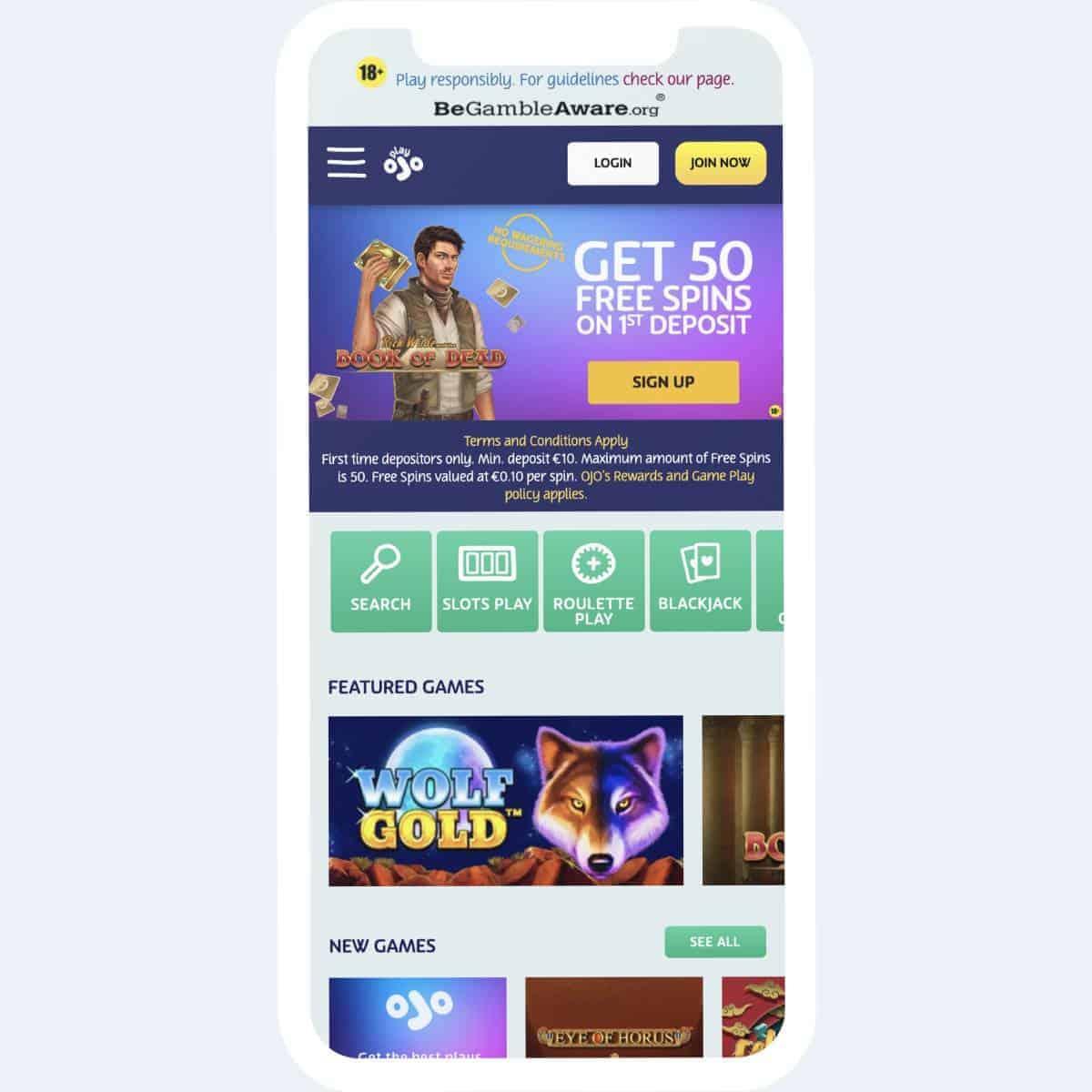playojo homepage mobile