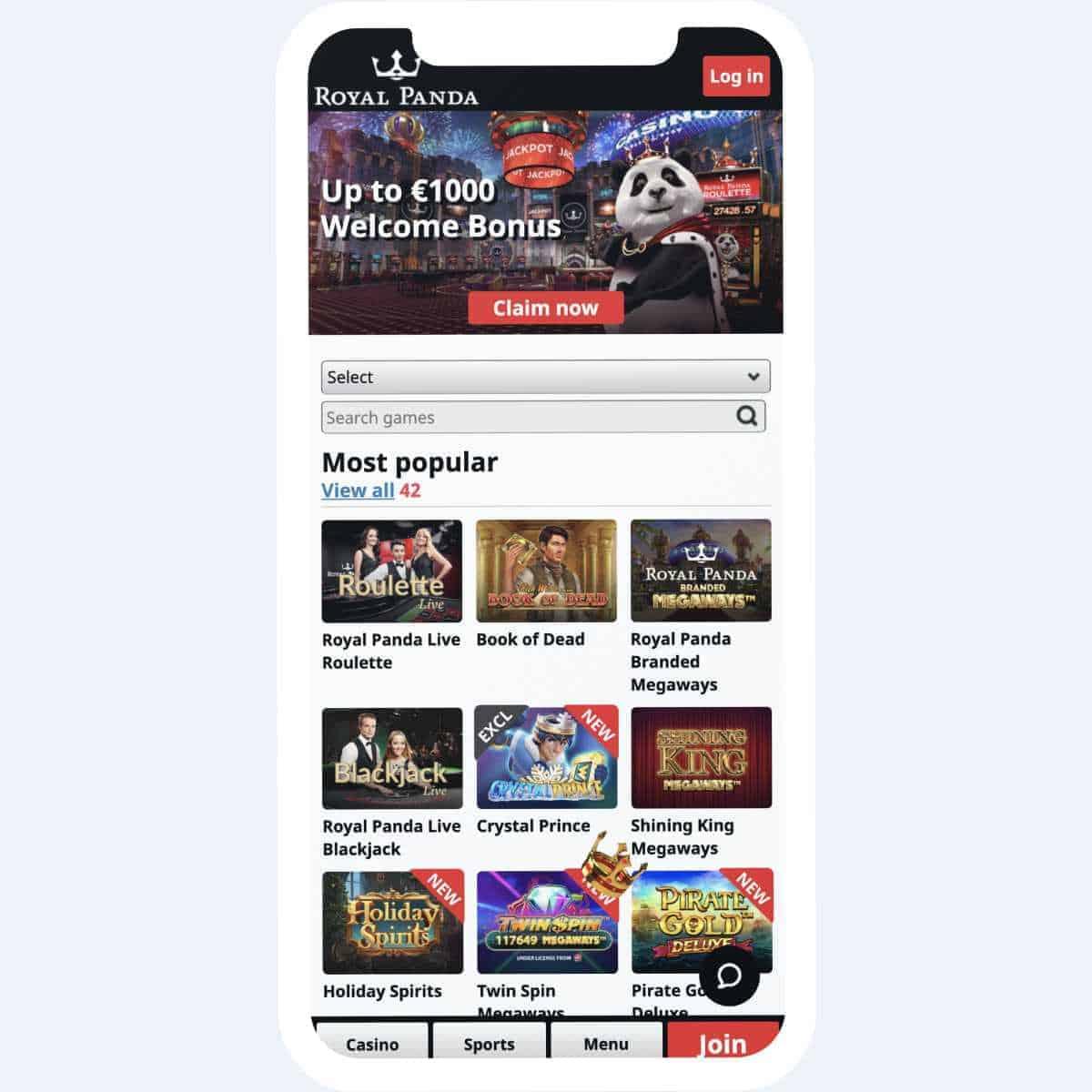 royal panda homepage mobile