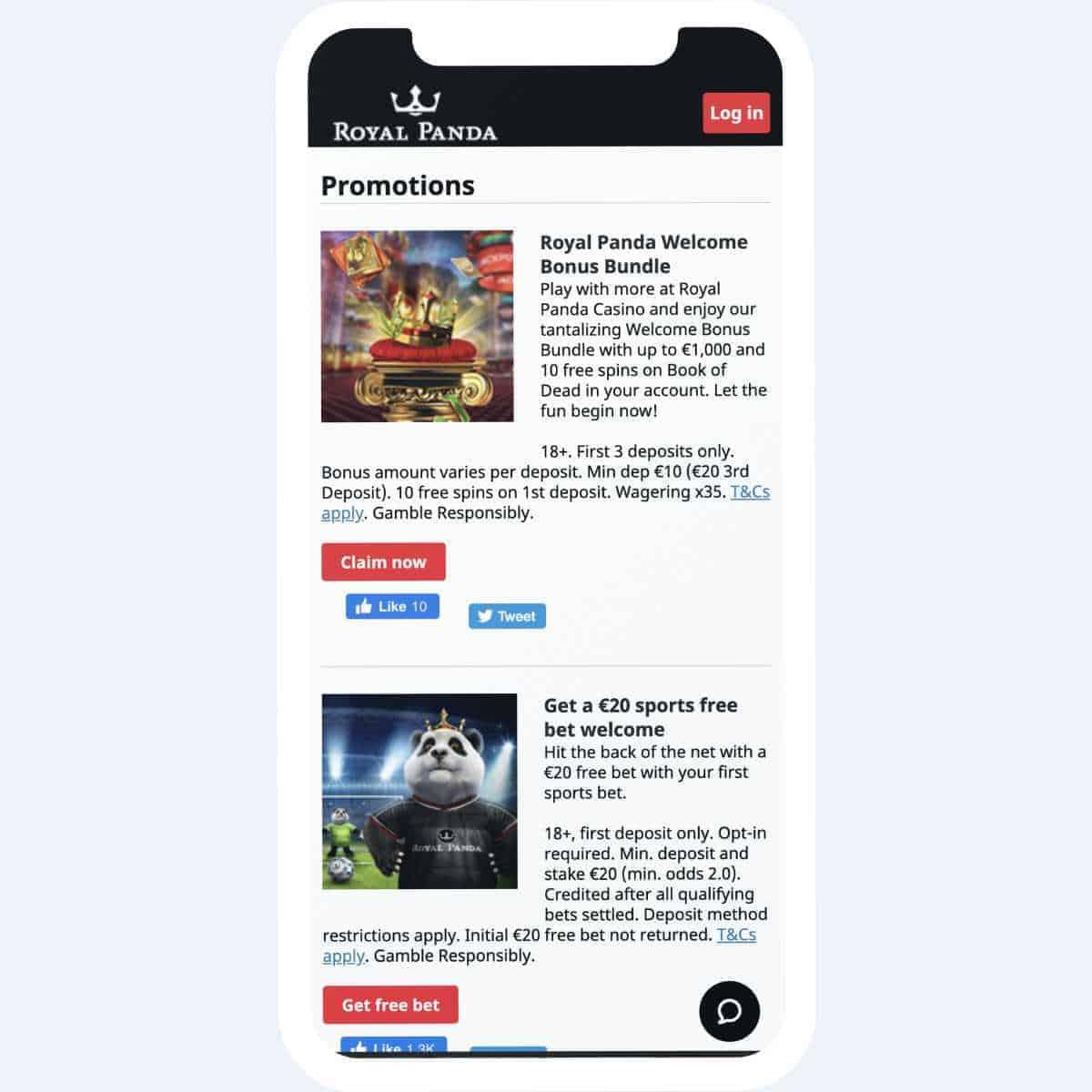royal panda promotions mobile