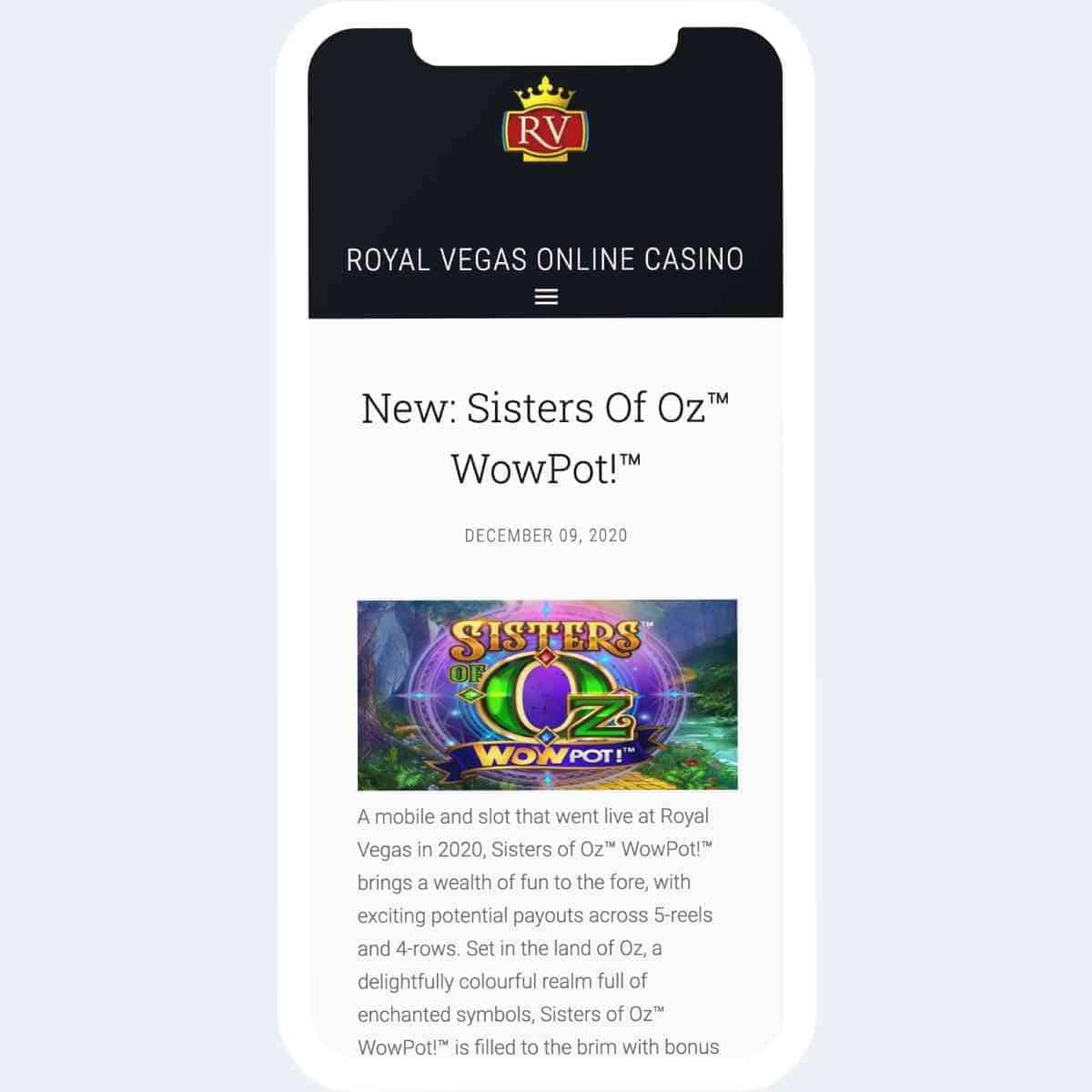royal vegas promotions mobile