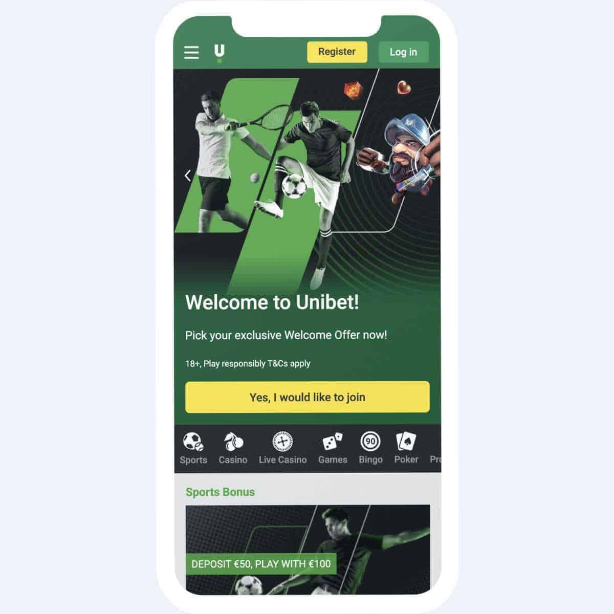 unibet homepage mobile