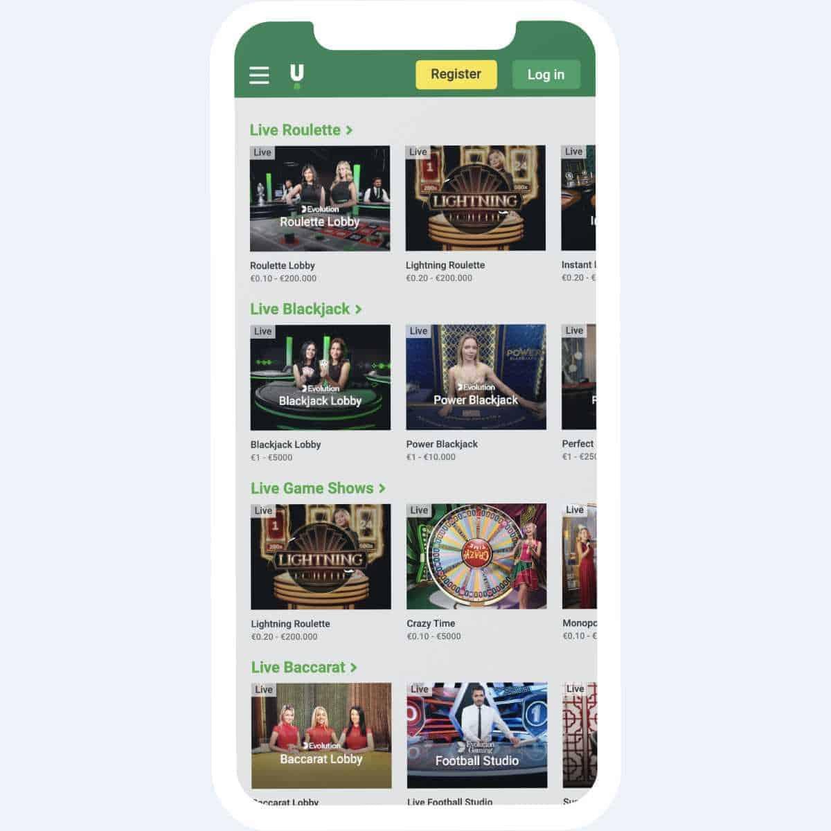 unibet live games mobile