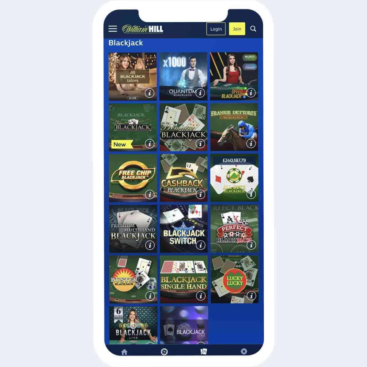 William Hill live games mobile