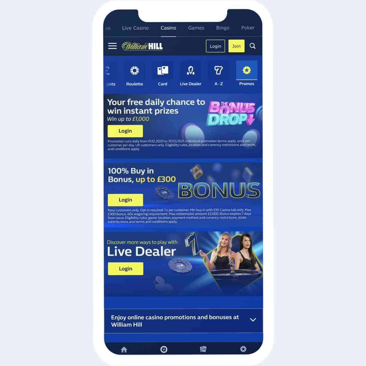 William Hill promotions mobile